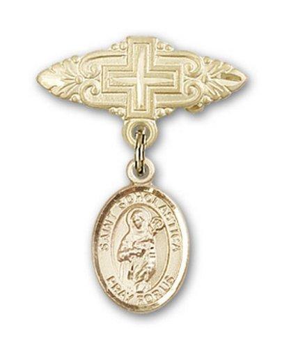 Icecarats Or Bijoux De Créateurs Rempli R. Scholastica Broche De Badge Charme Avec Une Croix X 3/4
