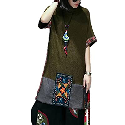 Wholesale Yesno AD4 Women Casual Loose Turtleneck Knitted Sweater Tunic Ethnic Embroidery Patched Wear Backwards Slit Sides