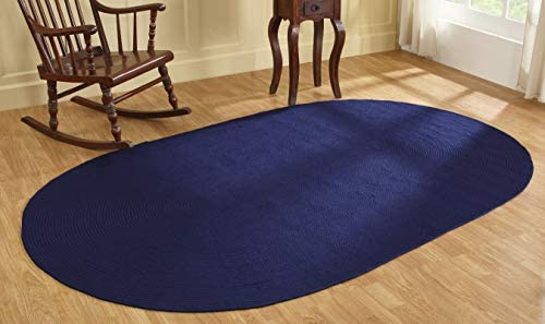 Better Trends Alpine Braid Collection is Durable Stain Resistant Reversible Indoor Area Utility Rug 100 Polypropylene in Vibrant Colors, 88 x 112 Oval, Navy Solid