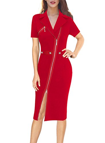 VFSHOW Womens Lapel Asymmetric Zip Buttons Wear to Work Office Sheath Dress 322 RED XL ()