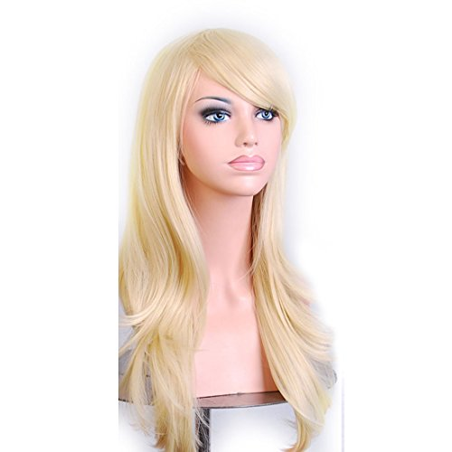 Wigood 28 inch Pale Gold Long Curly Hair with Air Bangs Cosplay Wig with Free Wig Cap for Women -