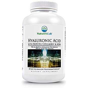 Natures Lab Hyaluronic Acid with Biocell Collagen and MSM, 60 Count