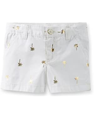 Little Girls Poplin Palm Shorts (6 Months, White Gold)!