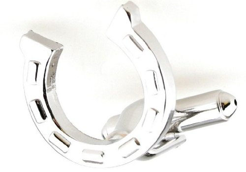 MRCUFF Horseshoe Horse Pair Cufflinks in a Presentation Gift Box & Polishing Cloth from MRCUFF