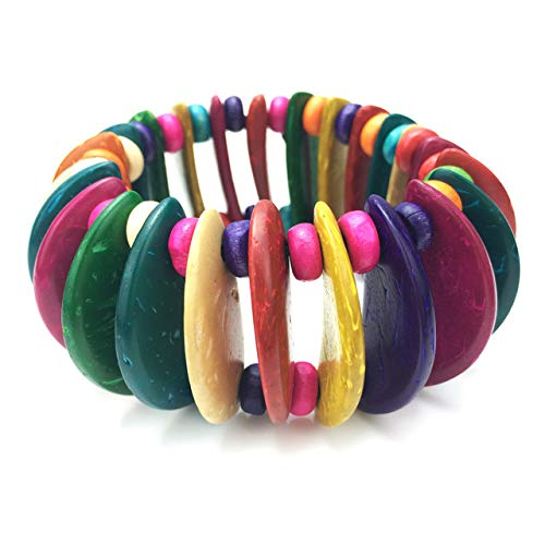 Shell Coconut Bracelet Stretch (Gabcus Bohemian Stretch Charms Bracelets for Women Fashion Wood Beaded Coconut Shell Statement Strand Bracelets Beach Jewelry - (Metal Color: Multicolor))