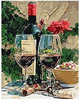 Msbvf diy40*50cmDos Copas de Vino pintadas por números pintadas a Mano por números sobre Lienzo Cuadros de Pared para Sala de Estar Frameless