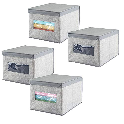 mDesign Soft Fabric Stackable Closet Storage Organizer Box with Clear Window and Attached Hinged Lid for Bedroom, Hallway, Entryway, Closets - Textured Print, Large, 4 Pack - Gray by mDesign