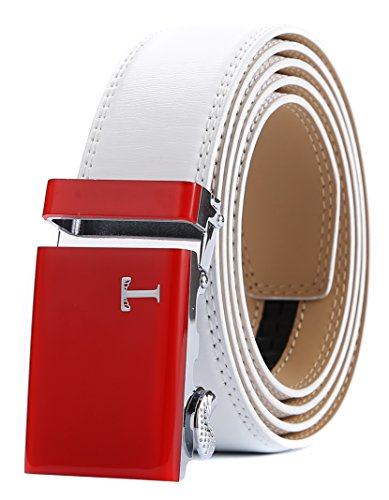 (Tonywell Belt Mens Leather Ratchet Belt with Automatic 40mm Buckle (One Size:32