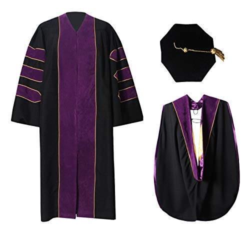 (Deluxe Doctoral Graduation Gown Hood and 8-Sided Tam Package Purple)