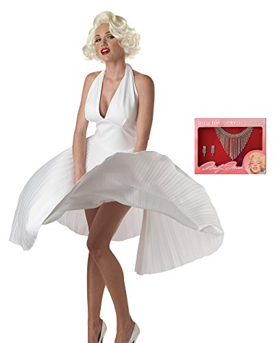 Deluxe Marilyn Costumes (California Costumes Women's Adult Deluxe Marilyn Costume Wig and Jewelry Set, White, Medium)