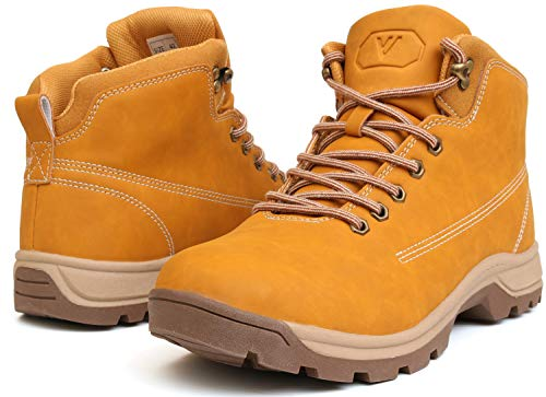 (WHITIN Men's Mid Soft Toe Leather Insulated Work Boots Construction Rubber Sole Roofing Waterproof for Outdoor Hiking Winter Snow Cold Weather Nubuck Water Proof Yellow Size 10)