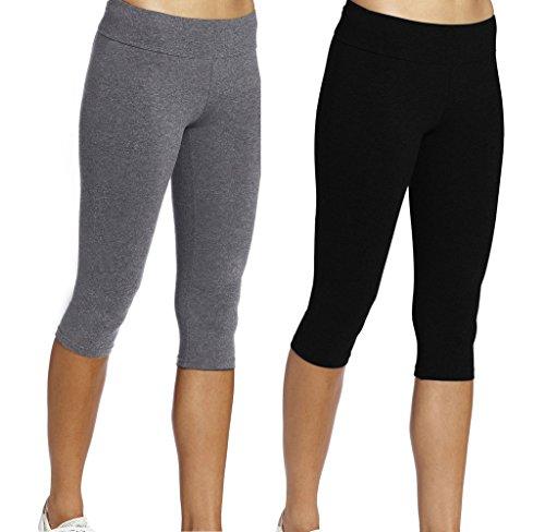 iLoveSIA 2PACK Womens Tights Capri Yoga Workout Leggings Pants US L BlackGrey