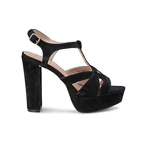 Een Ander Een Dame, Dames Plateau Sandalette, Lederen Sandaal In Zwart Met Plateau-hiel Zwart
