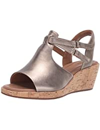 Women's Un Plaza Way Wedge Sandal, Gold Metallic Leather, 75 M US