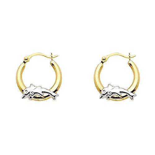 14k Two Tone Gold Fancy Dolphin Hoop Earrings (13mm - Two Tone Dolphin