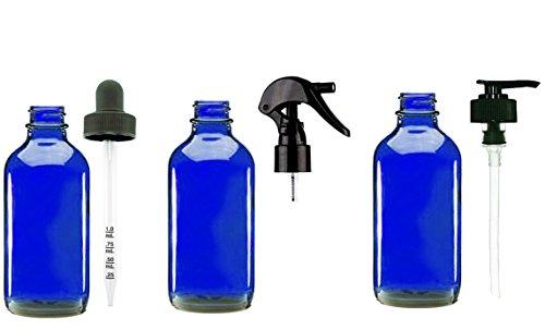 Natura Bona Essential Oil Bottles; 3-Pack of 4oz Boston Round Glass Bottles with Trigger Sprayer, Pump Dispenser & Calibrated Dropper. Ideal for EO Formulation and Application (Cobalt Glass - Blue Bono Glasses
