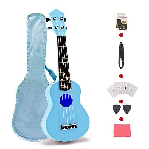 Toy Ukulele Set 21 inch Kids Guitar for Toddler Kids Children Students First Ukulele Set for Learner Beginner Perfect Ukulele Gift with Strap Nylon String Tuner Guitar Picks Ukulele Strings Bag(Blue)