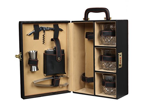 Telconi Portable Travel Bar Set with Whiskey Glasses , Black , Leatherette Bar Set , Bar Accessories