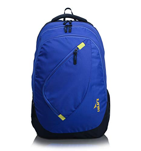 Lunar's Comet 35L Water Resistant Casual Backpack – 3 Compartments, Anti – Theft Internal Organiser, 1 Year Warranty (Blue and Yellow)