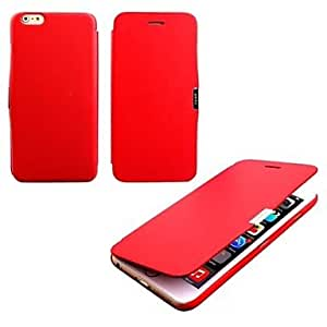 SHOUJIKE Special Design Solid Color Good PU Leather Leather Full Body Case Auto for iPhone 6 Plus (Assorted Colors) , Red
