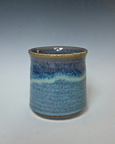 Handleless Mug Handmade Stoneware Coffee Tea Cup in Blue Swirl (Swirl Teacup)