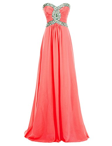 Erosebridal 2017 Long Sweetheart Chiffon Formal Evening Dresses Prom Gowns US 14 Coral