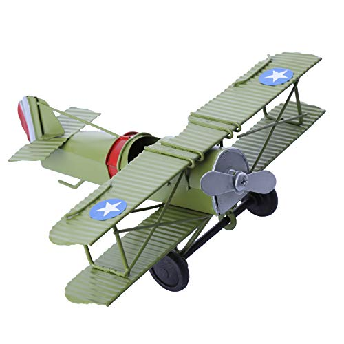 - Berry President Vintage Retro Wrought Metal Iron Biplane Plane Aircraft Handicraft Models - Photo Props Home Decor/Ornament/Souvenir (Green)