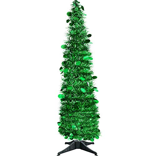 JHYQ-US Collapsible Christmas Trees Tinsel Artificial Tree with Stand 5 Foot Tall for Home Decoration -