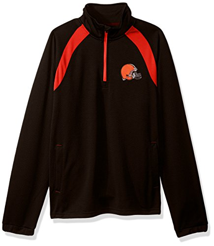 G-III Sports NFL Cleveland Browns High Impact Half Zip Pullover, 6X, Brown