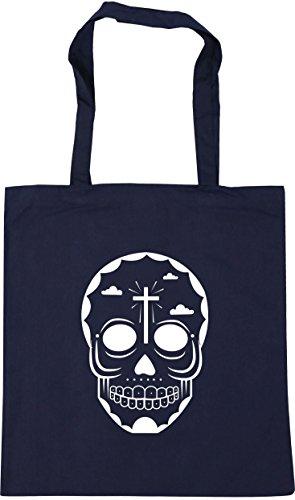 HippoWarehouse skull 6 Tote Shopping Gym Beach Bag 42cm x38cm, 10 litres French Navy