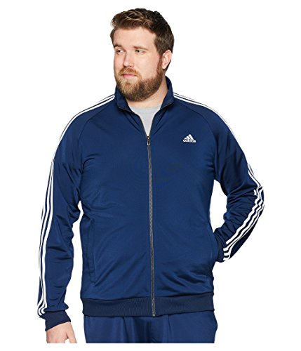 adidas Men's Big &Tall Essentials 3S Tricot Track Jacket Collegiate Navy/White Large from adidas