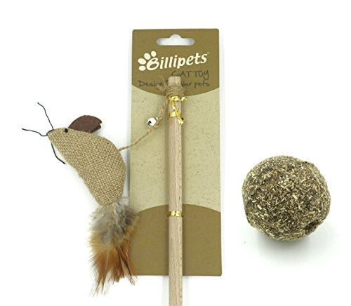 Billipets Cat Toys, Set of Natural Wooden Wand Teaser Sisal Mice Cat Toy and 100% Compressed Catnip Cat Toy Ball (Catnip 100% Mice)