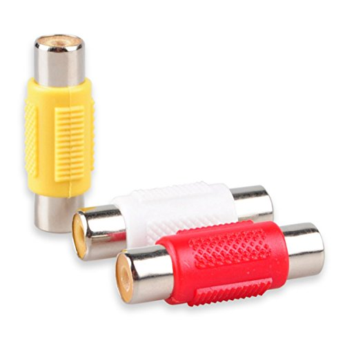 Conshine RCA Female to Female Coupler Jack Adapter to Connect RCA Audio Video Male Cables, White/Red / Yellow - 9-Pack