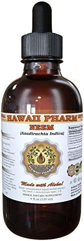Neem Liquid Extract, Organic Neem Azadirachta indica Tincture Herbal Supplement, Hawaii Pharm, Made in USA, 4 fl.oz