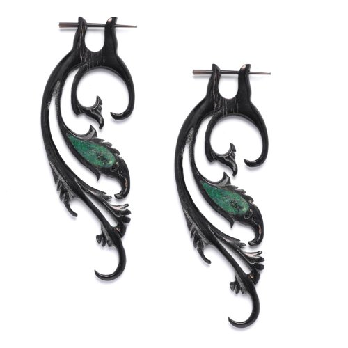 81stgeneration Women's Men's Black Horn Fake Taper Stretcher Simulated Turquoise Tribal Earrings