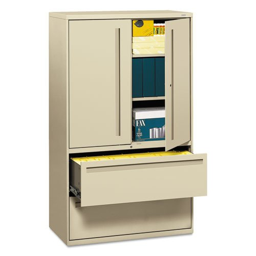 New - 700 Series Lateral File w/Storage Cabinet, 42w x 19-1/4d, Putty by HON