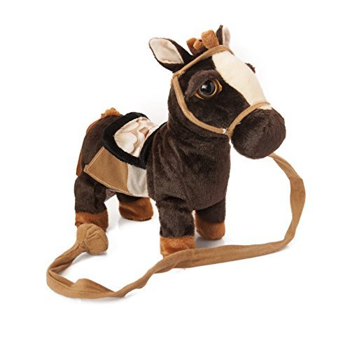 Pony Horse Toy - My First Pony, Walk Along Toy Stuffed Plush Pony Toy, Realistic Walking Actions with Horse Sounds and Music