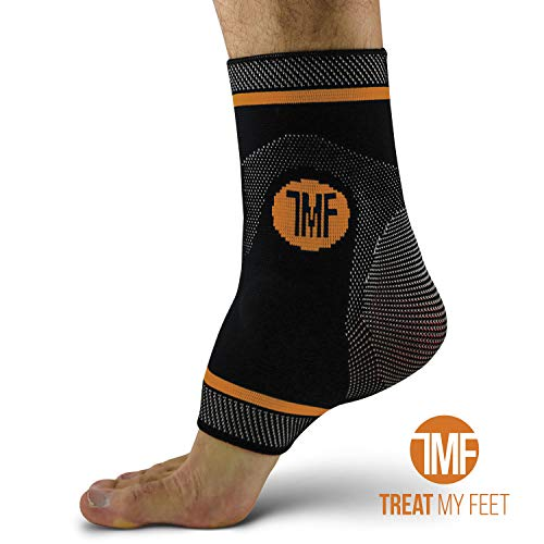 Compression Ankle Brace with Silicone Ankle Support and Anti-Microbial Copper. Plantar Fasciitis, Foot, Achilles Tendon Pain Relief. Prevent and Support Ankle Injuries & Soreness - S
