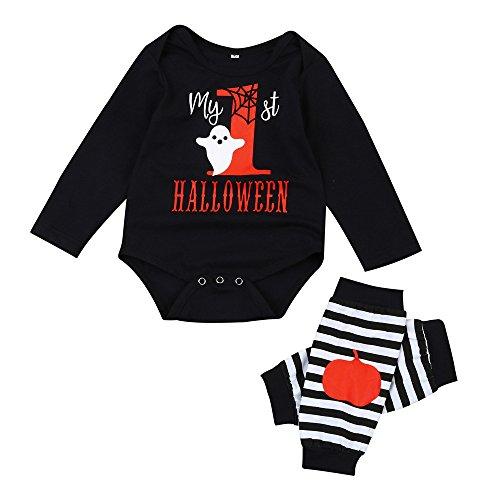 Baby Boys Girls Halloween Pumpkin Long Sleeve Romper Leg Warmers Outfit Sets -