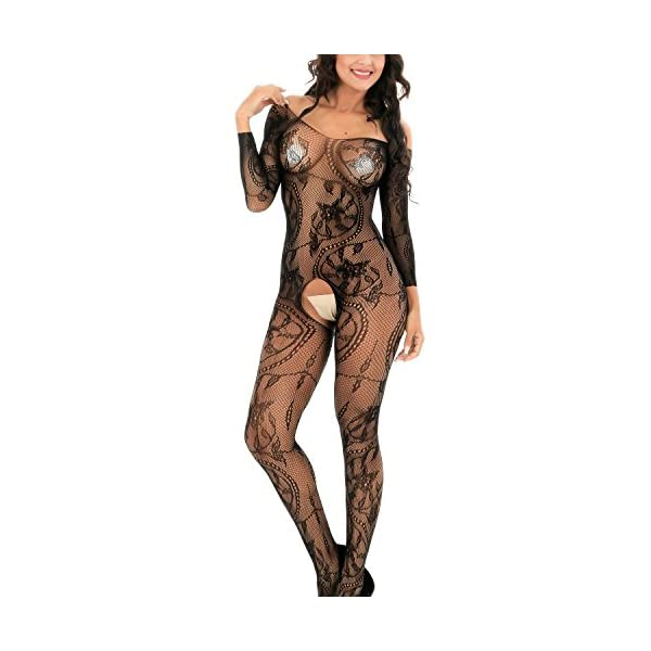 Femme Lingerie Sexy en Dentelle sous Vêtements de Nuit,Fourche Ouverte Bas de Corps Perspective sous-vêtements Pyjama…