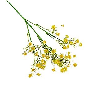 MARJON Flowers Artificial Gypsophila Flower Baby's Breath Fake Plant Garden DIY Party Wedding Stage Decors Yellow 3