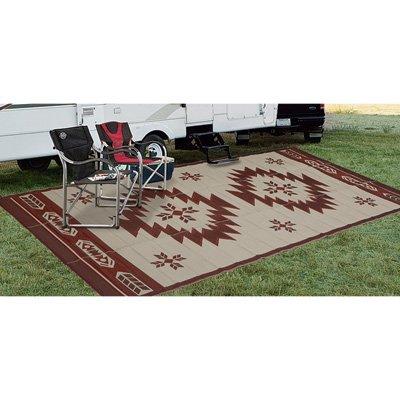 (Fireside Patio Mats Navajo Breeze Burgundy And Beige 9 ft. x 18 ft. Polypropylene Indoor/Outdoor Reversible Patio/RV Mat)