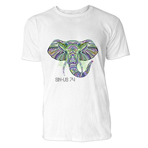 SINUS ART® Bunter Elefantenkopf im Ethno Stil Herren T-Shirts in Weiss Fun Shirt mit tollen Aufdruck