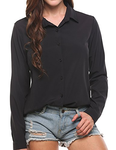 Zeagoo Women's Long Sleeve Casual Polka Dot Button up Office Blouse Shirt Top, Solid Black, XX-Large by Zeagoo (Image #2)