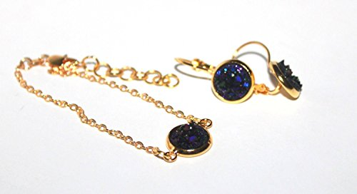 - Dangle Earrings + Bracelet Jewelry Set / Purple blue & Gold Plated Druzy / 10 mm / Bridesmaid 3, 4, 5, 6, 7, 8, 9, 10 / Gift for her