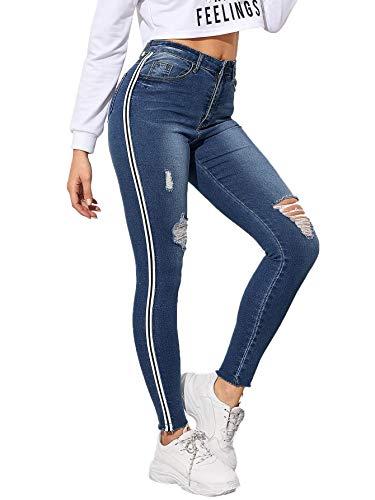 - SOLY HUX Women's Stripe Side Ripped Jeggings Pocket Denim Skinny Stretch Jeans Pants Navy M