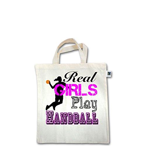 Handball - Real Girls Play Handball - Unisize - Natural - XT500 - Fairtrade Henkeltasche / Jutebeutel mit kurzen Henkeln aus Bio-Baumwolle