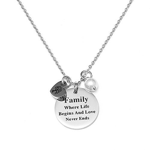 Silver Love Disc (Dolovely Stainless Steel Silver Disc Tree of life Pearl Pendant Heart Necklace Family Quote Gift for Women Mom Daugther)
