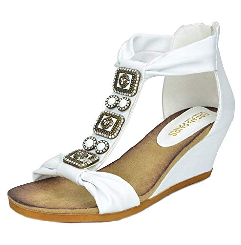 DREAM PAIRS Aztek New Women's Summer Fashion Design Ankle Low Wedge Platform Heel Sandals White Size 5