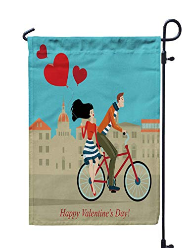 Shorping Garden Flag Stand, 12x18Inch of Couple on Bicycle in The City Center Greeting Card Day Cartoon Style for Holiday and Seasonal Double-Sided Printing Yards Flags -